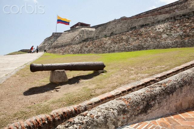 Canon in front of a fort, Castillo San Felipe De Barajas, Cartagena, Bolivar, Colombia