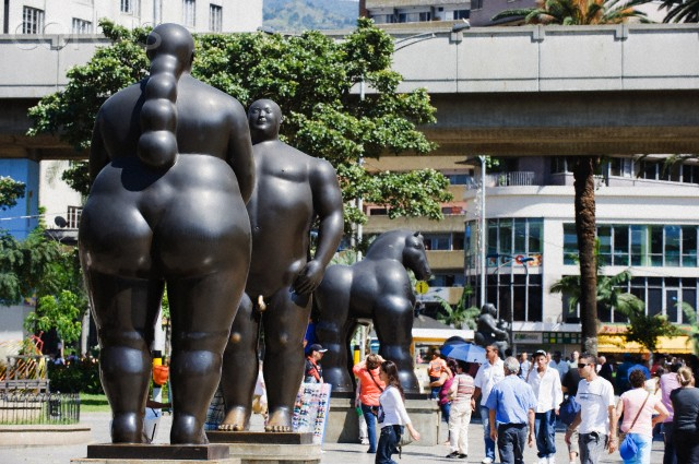 Sculptures by Fernando Botero, Plazoleta de las Esculturas, Medellin, Colombia, South America