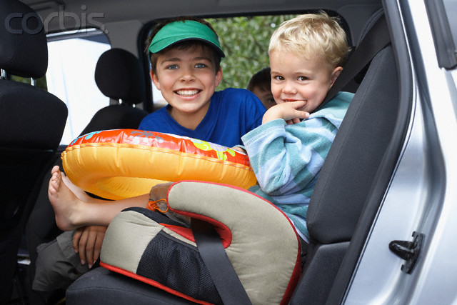 Brothers in Back Seat of Car