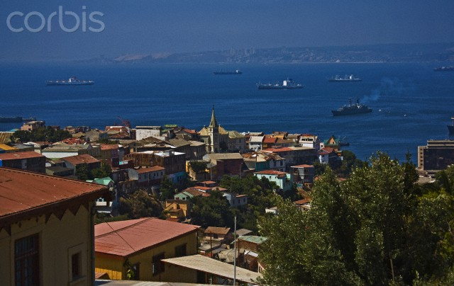 Port of Valparaiso, Chile from Hills, Ships and Sea