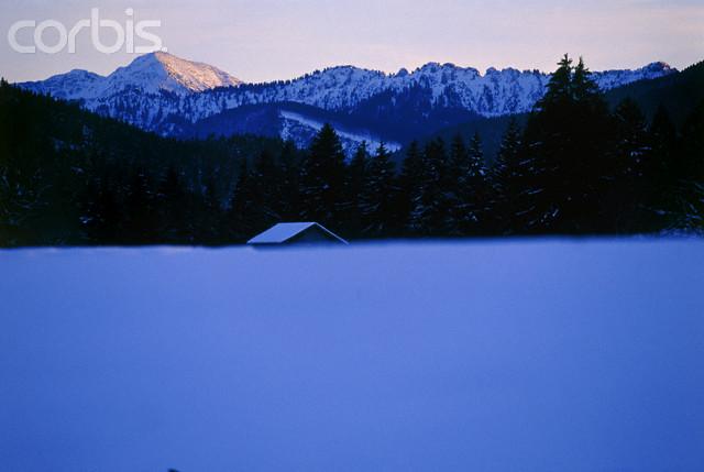 Winter landscape, Ammergauer Alps, Bavaria, Germany