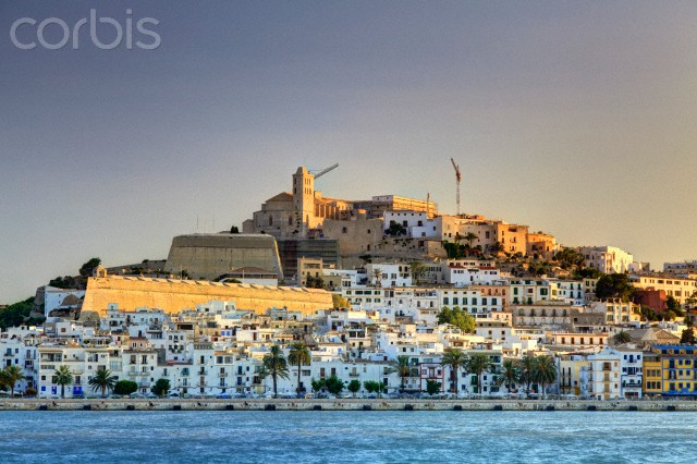 Spain, Balearic Islands, Ibiza, view of Ibiza old town (UNESCO site), and Dalt Vila